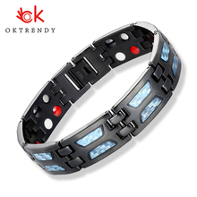 Oktrendy 4 in 1 Titanium Magnetic Energy Armband Power Bio Bracelet Health Pain Relief Magnet Bracelets Men 2019 New