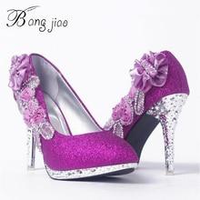 Chaussures magnifiques à talons hauts en cristal pour femmes, escarpins magnifiques et Sexy, à la mode, pour soirée de mariage