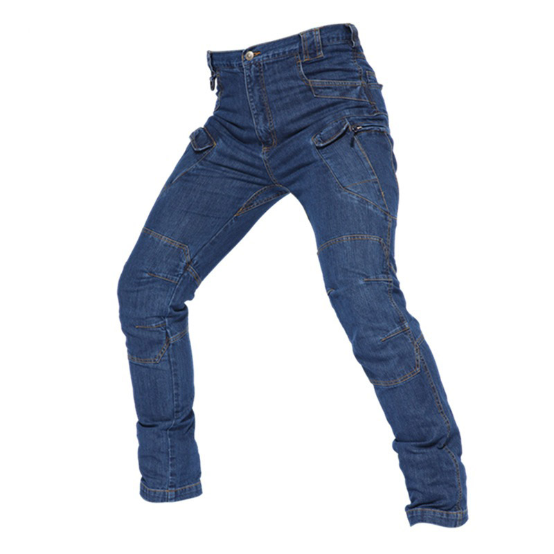 Mcikkny Men's Cargo Tactical Jeans Pants Multi Pockets Military Casual Denim Trousers For Male Size S-3XL Outdoor