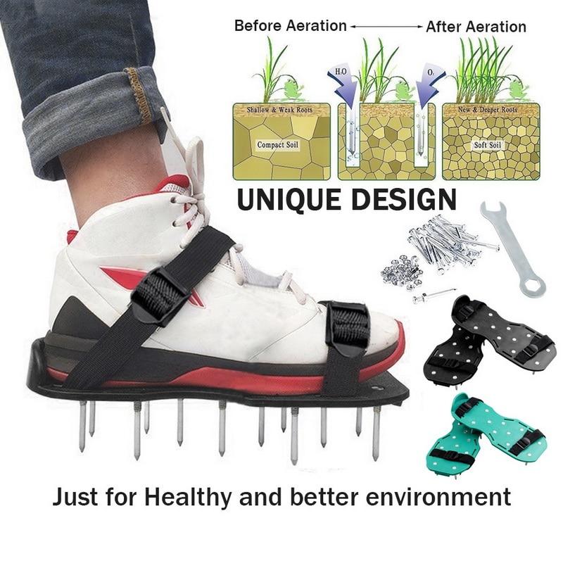 דשא Aerator נעלי דשא Spiked גינון הליכה התחדשות דשא Aerator סנדלי נעליים, נעלי ציפורן, נייל לגדול כלי, גן