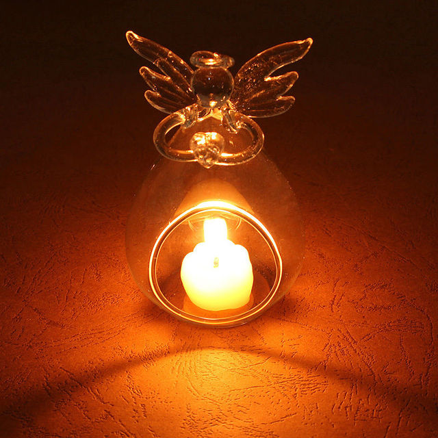 Cute Angel Glass Crystal Hanging Tea Light Candle Holder Home Decor Candlestick Home Room Family Decor Dropshipping 1