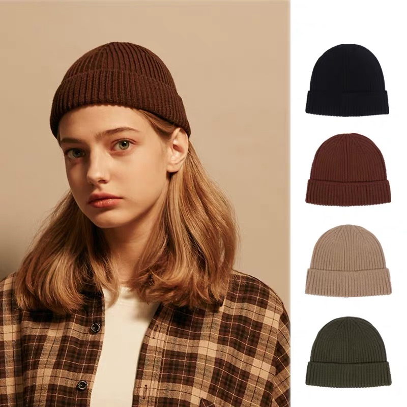 Woolen Yarn Knitted Hat Whole Colored Joker Tendency Ins Style Of Street Fashion Concise Sleeve Cap