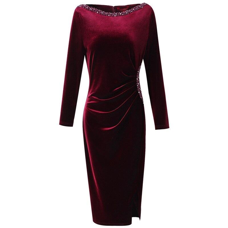 Image 4 - Retro velvet sexy dress 2019 NEW luxury spring Autumn Vintage  Nail bead Party Dress Plus Size Women Clothing winter slim  dressesDresses