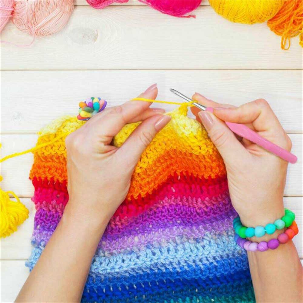 57Pcs Crochet Hook Yarn Knitting Needle Sewing Tool Ergonomic Grip Set   Knitting Tools Kit Crochet Needle Hook  with Box