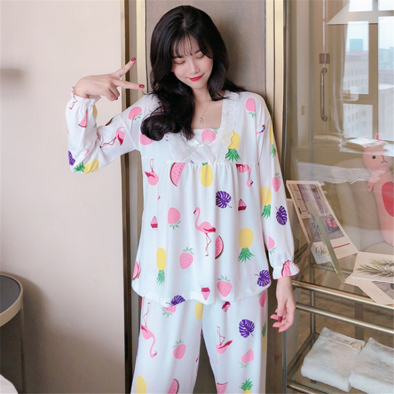 Woven Cotton Fruit Print Top And Pants 2 Pieces Pajama Set Multicolor O Neck Women Suits New Spring Long Sleeve Casual Pajama Set
