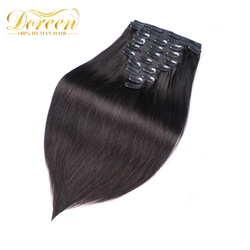 Doreen 160G 200G Brazilian Machine Made Remy Straight Clip In Human Hair Extensions #1 #1B #2 #4 #8 Full Head Set 10Pcs 16-22