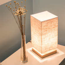 Modern Simple Linen Lampshade Solid Wood Base Table Lamp Bedroom Bedside LED Japanese