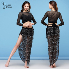 Black Sexy Belly Dance Performance Set Silk Skirt Peacock Feather Style Split for Bellydancer Adulte dance Skirts