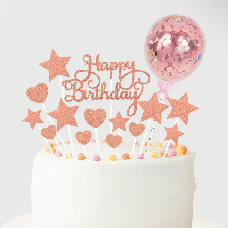 1Set Rose Gold Happy Birthday Cake Toppers with Confetti Balloons Kids Birthday Party Decoration Baby Shower Favor Wedding Decor