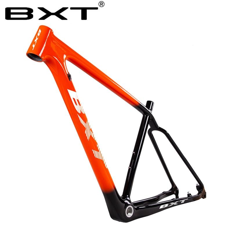 Mountain Bike Ultralig Carbon Fiber Bike Frame Thru Axle 29er Carbon Bicycle Frame Orange Carbon MTB Frame With Headset Clamp