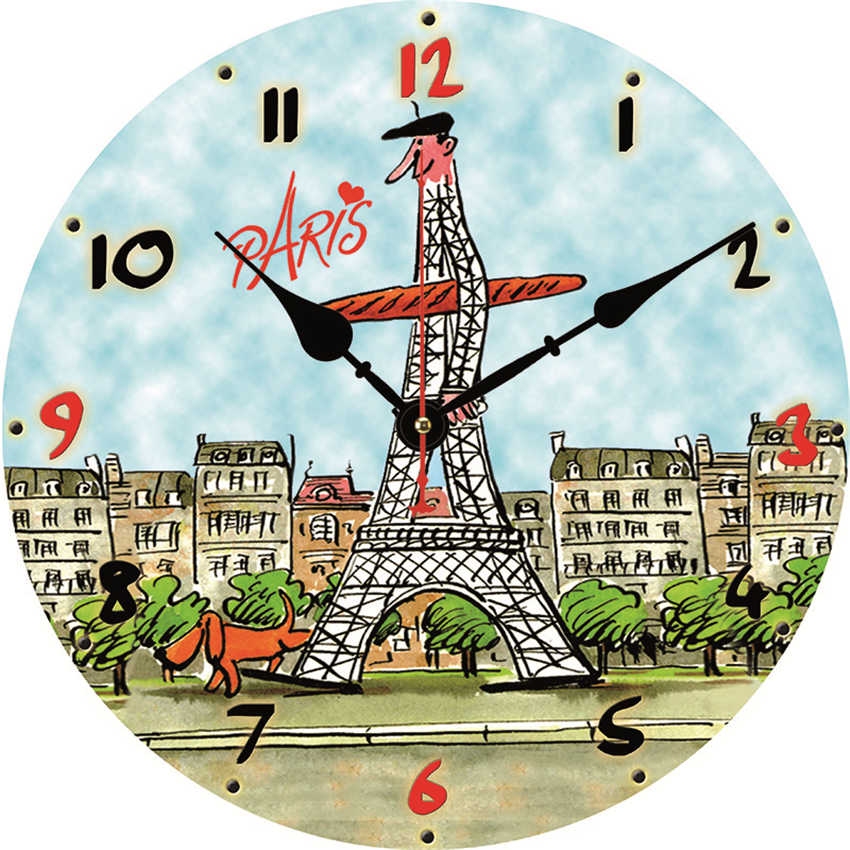 Paris Tower Wall Clock,Hanging Clocks Silent Movement,Circle Wall Watch,Shabby Retro Home Kitchen Room Decor,Duvar Saati