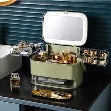 Nova caixa de armazenamento de cosméticos com espelho led luz desktop organizador de maquiagem caso à prova de poeira tipo gaveta organizador para cosméticos