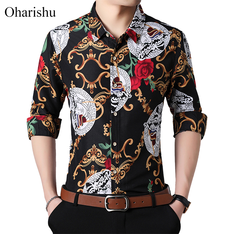 2019 New Autumn New Long Sleeve Personality Printed Shirts Plus Size 5XL 6XL 7XL Button Down Social Hawaiian Floral Shirt