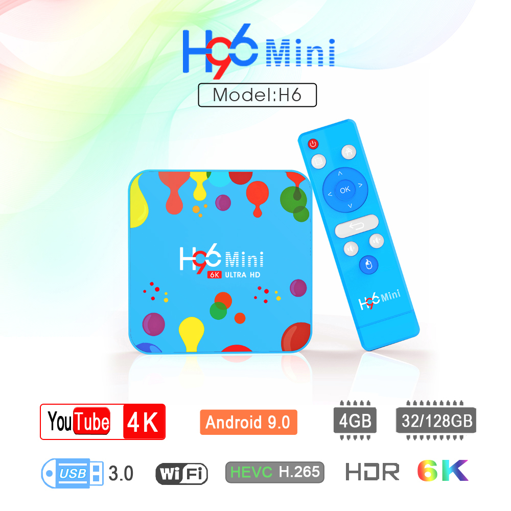 4GB 128GB H96 Mini Android 9.0 TV Box Allwinner H6 Quad Core 6K H.265 Wifi HD Google lecteur Youtube décodeur 4GB 32GB H96 Max