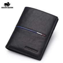 BISON DENIM Cowskin Leather Men Wallets Multi Functional Cowhide Coin Purse Slim Genuine Leather Wallet Men Card Holders N4437