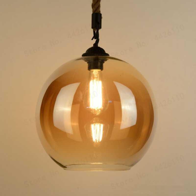 BLUBBLE Лофт Янтарный Ретро пеньковая веревка стеклянный подвесной светильник светодиодный подвесной светильник покрытый прозрачной подвеской Винтажный Классический подвесной светильник