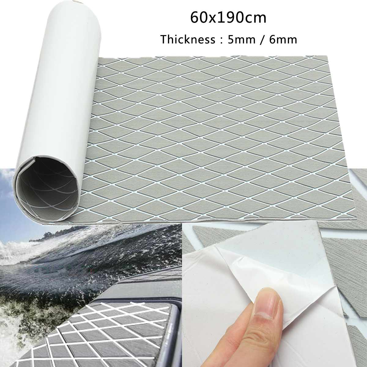 Audew 60x190cm 5/6mm Rhombus EVA Foam Gray With White Lines Boat Flooring Faux Teak Sheet Self-Adhesive Marine Boat Decking Mats