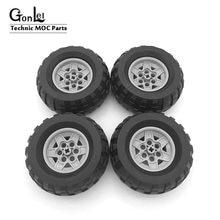 Rodas de alta tecnologia 81.6x38 r roda de aro + cubo de pneu 56908 + 45982 moc blocos de construção tijolos peças apto para moc carros brinquedos