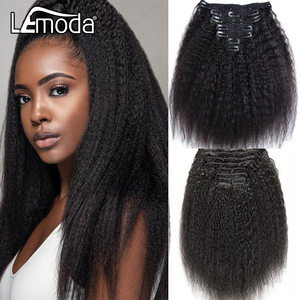 Brazilian Kinky Straight Hair Clip In Human Hair Extensions Natural Color 8 Pieces/Set Full Head 120g/lot Lemoda Hair Clips