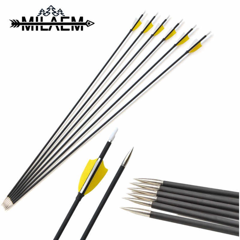 6 Pcs Archery Spine 1000 Target Shooting Carbon Arrow With Fixed Arrowheads Fit For OD 6 mm Shaft Bow And Arrow Accessories