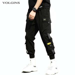 Harem-Pants Trousers Ribbons Elastic-Waist Streetwear Hip-Hop Black Men Casual with Slim