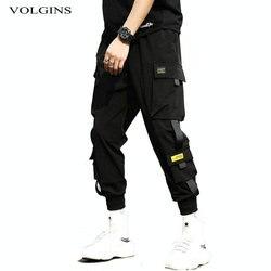 Streetwear Hip Hop siyah harem pantolon erkekler elastik bel serseri pantolon kurdele ile Casual Slim koşucu pantolonu erkekler Hip Hop pantolon