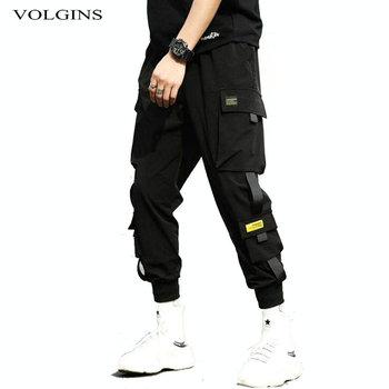 Streetwear hip-hopowe czarne spodnie haremowe męskie w pasie punkowe spodnie z wstążkami Casual Slim spodnie do biegania męskie spodnie Hip hopowe tanie i dobre opinie VOLGINS Ołówek spodnie Pełnej długości Na co dzień Mieszkanie Poliester COTTON Midweight Kieszenie Suknem REGULAR