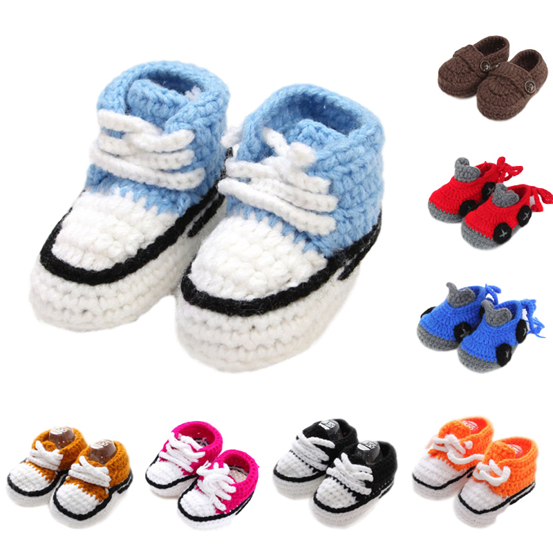 Adorable Knitting Baby Shoes Multi Color Infant Crib Shoes Newborn Prewalker Handmade Baby Girl Boy Slippers