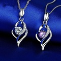 Silver 925 jewelry Hollow heart shape Inlaid Zircon Necklace for women Purple Rhinestone Pendant elegant charms Dating gift