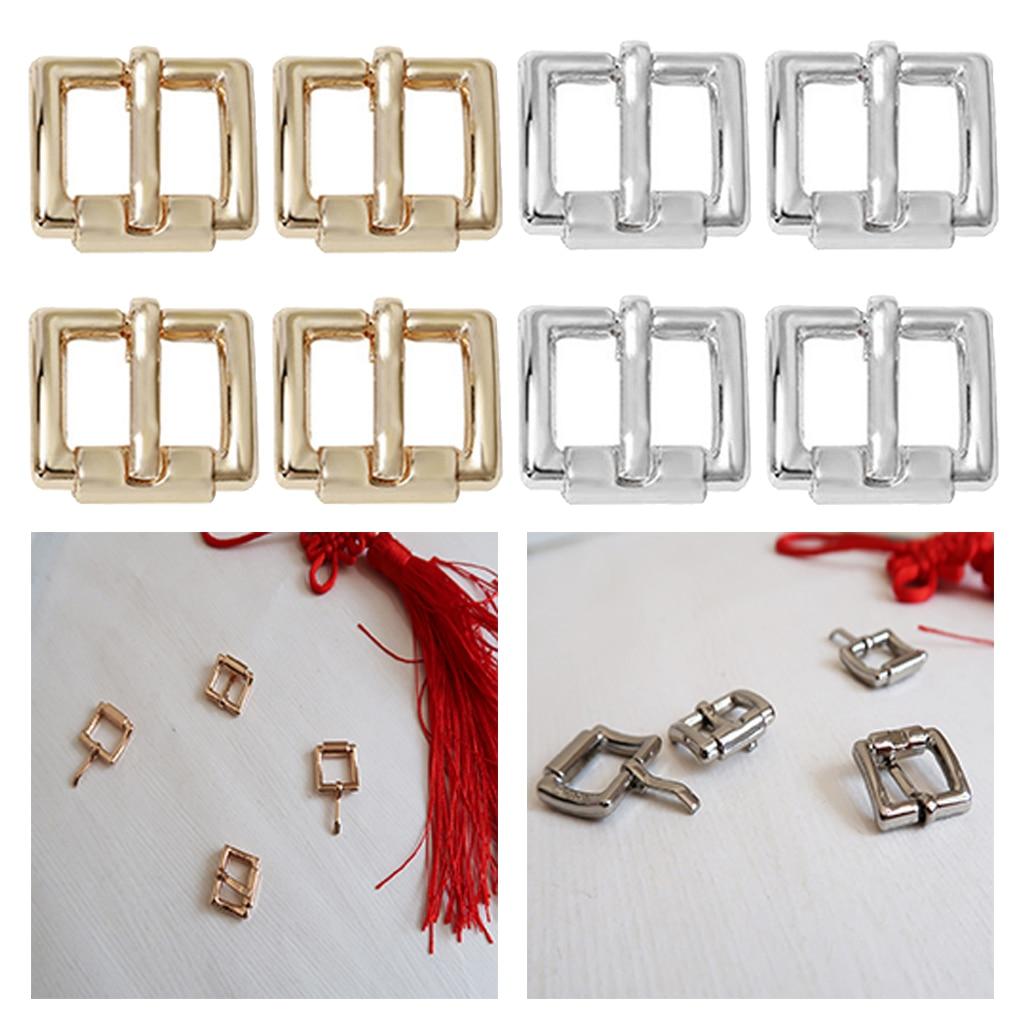 4pcs Center Bar Pin Buckles Rectangular Belt Buckle Bag Buckles DIY