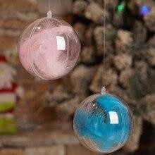 Рождественские украшения, шар, прозрачный открытый пластиковый прозрачный орнамент «Новогодняя елка», украшения, рождественские принадлежности, Роза из перьев