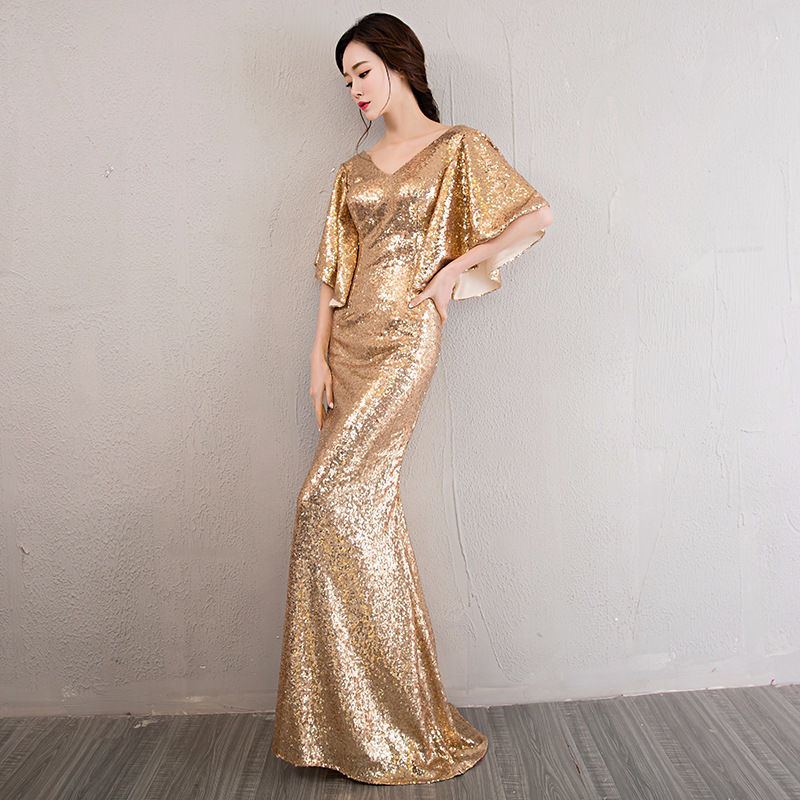 Banquet Late Formal Dress 2018 New Style Nobility Elegant Fishtail Sequin Dress Slim Fit Long Host Annual General Meeting Formal