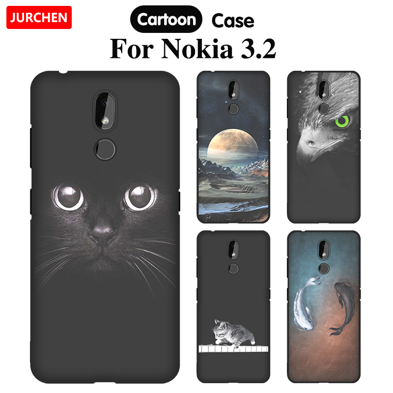 JURCHEN Cartoon Case For <font><b>Nokia</b></font> <font><b>3.2</b></font> Case Cute Print Silicone Soft Tpu Back Cover For <font><b>Nokia</b></font> <font><b>3.2</b></font> Nokia3.2 <font><b>2019</b></font> Phone Coque Funda image