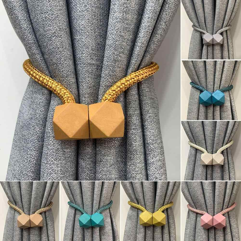 2Pcs Curtain Tieback Multifaceted Ball Magnetic Curtains Buckle Tie Backs Shower Curtain Holder Wall balls Home Room Accessories