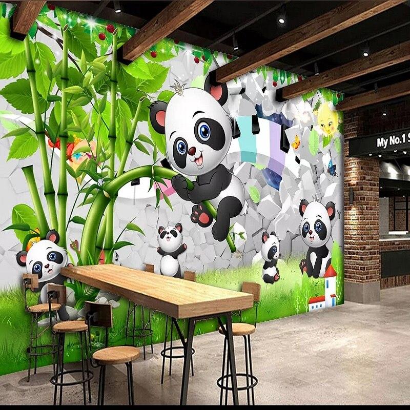 Custom Large Mural 3d Wallpaper Cartoon Animal Baby Panda Bamboo Child Bedroom Mural Tv Back Wall Decor Deep 5d Embossed Wallpapers Aliexpress
