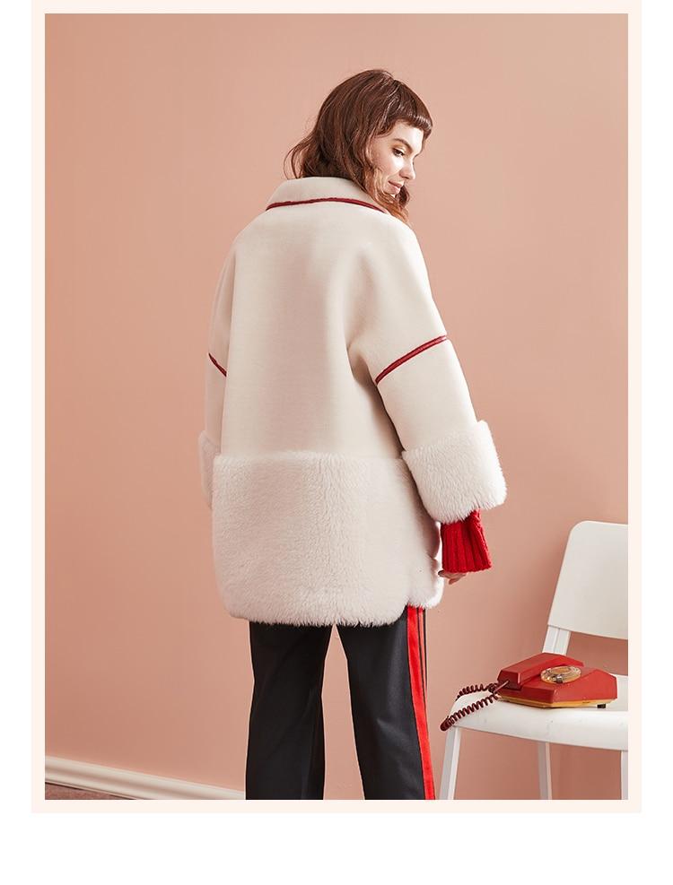 Genuine Fur Coat Women Autumn Winter Warm Thick Sheep Shearing Jackets 2020 Lamb Fur Parkas Mujer V18F26029-1 MF576