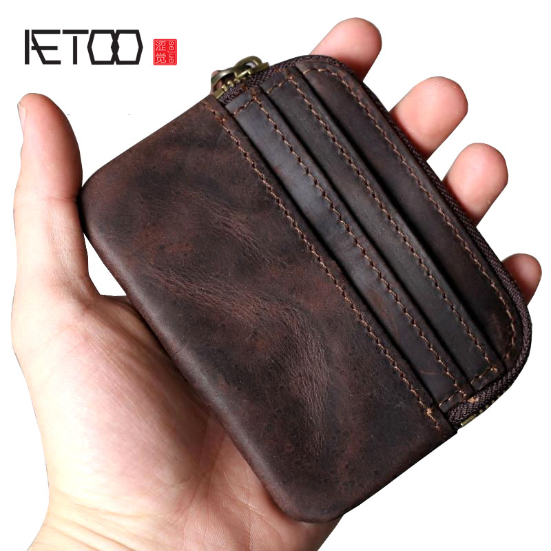 AETOO Retro First Layer Leather Card Wallet Purse Leather Handmade Original Key Package Driving License Portable Mini Coin Bag