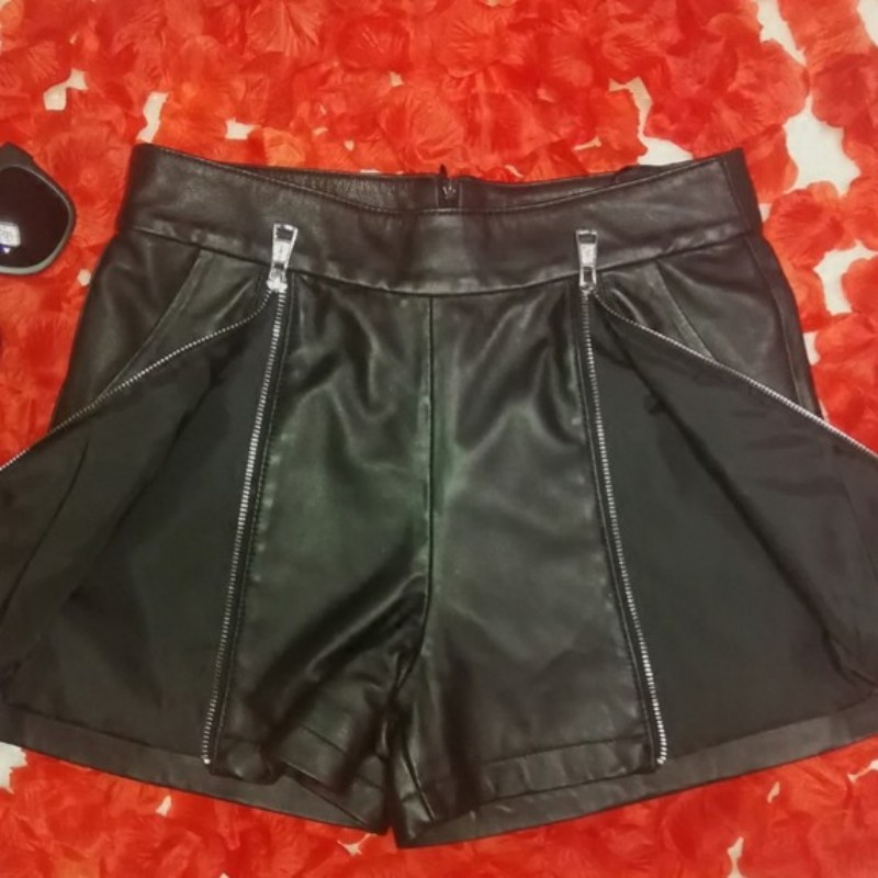 Fashion Women Double Zipper Sheepskin Genuine Leather Shorts Sexy Night Club Hot Shorts Slim Fit Female Casual Short Trousers