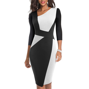 2020 Asymmetrical Collar Dress Elegant Casual Work Office Sheath Slim Dress 1