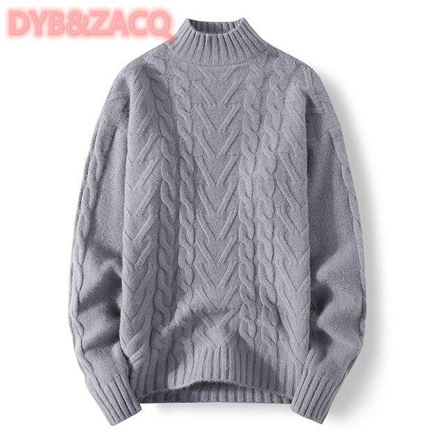 Мужской трикотажный свитер с круглым вырезом и длинным рукавом 1