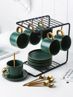 Vintage Pottery Coffee Cup Set Porcelain Office Creative White Tea Cup with Handle Saucer Kubek Na Kawe Home Decor OO50CS