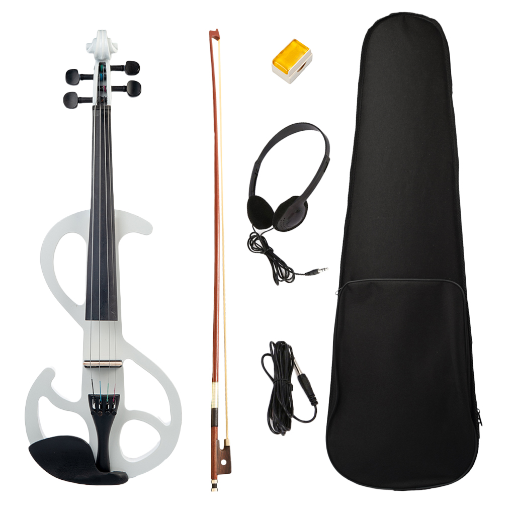 4/4 Electric Violin Set with Tailpiece with Bow Hard Case Headphones Rosin Audio Cable Musical Instrument for Beginners White