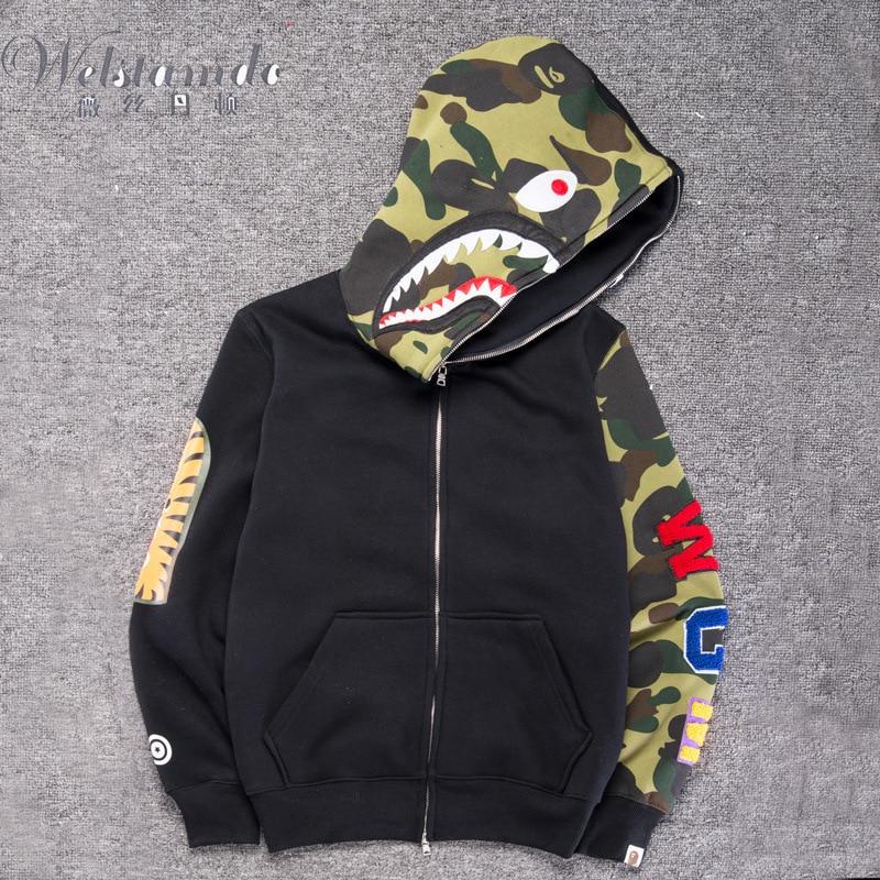 Men Sportwear Coat Jogger Tracksuit Pullover Fleece Sweatshirt Crewneck Bird OVO Drake Black Hip Hop Stusay Hoodie Shark Mouth