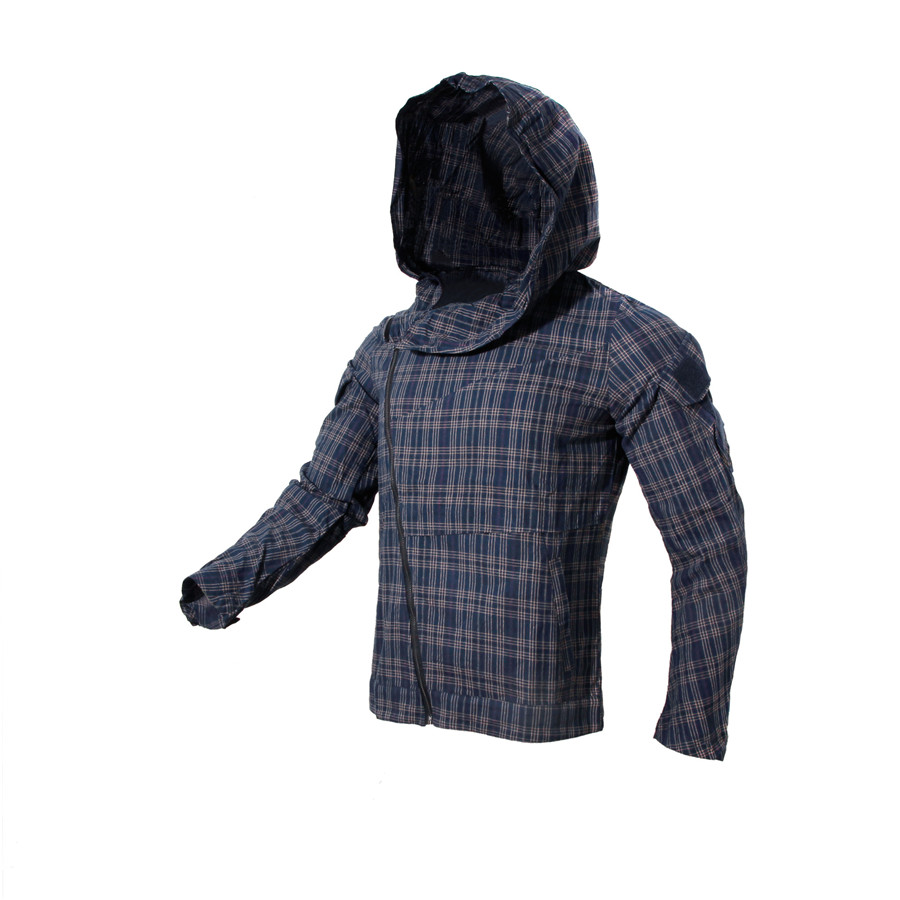 Breathable Running Hiking Shirt Wear-Resistant Hooded Messenger Zip Plaid Tactical Shirt For Men And Women Outdoor Fishing Shirt