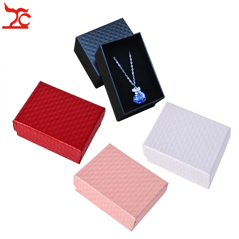 Quality Paper Jewelry Box Necklaces Earrings Ring Packing Display Gift Boxes Case Jewellery Organizer Bague Bijoux Box 4 Colors