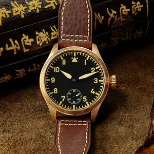 Image 3 - San Martin Bronze Pilot męski zegarek ręczny mechaniczny szafirowy skórzany pasek Luminous wodoodporny przezroczysty futerał z powrotem
