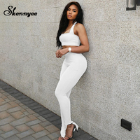 Skennyee Sexy Halter Women Tracksuit Backless Open Fork Casual Bodycon Athleisure Suit Sport Street Fashion Lady 2 Piece Suits