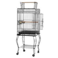 57 Parrot Bird Canary Parakeet Cockatiel LoveBird Finch Bird Cage with Wood Perches & Stainless Steel Cup Food Cups
