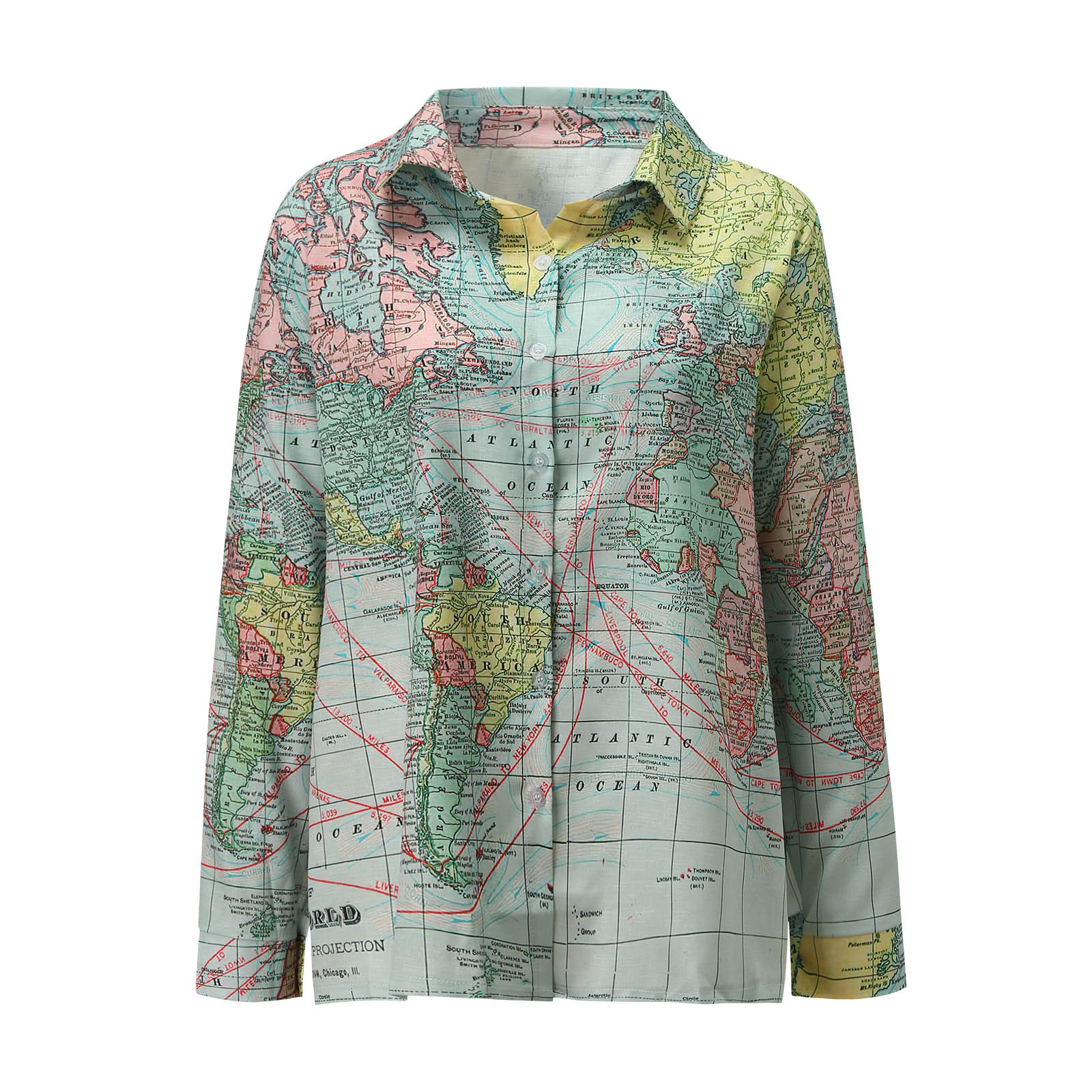 World Map Printed Women Blouse Fashion Lapel Button Shirts Long Sleeve Loose Casual Streetwear Blouses Tops Рубашка Женская