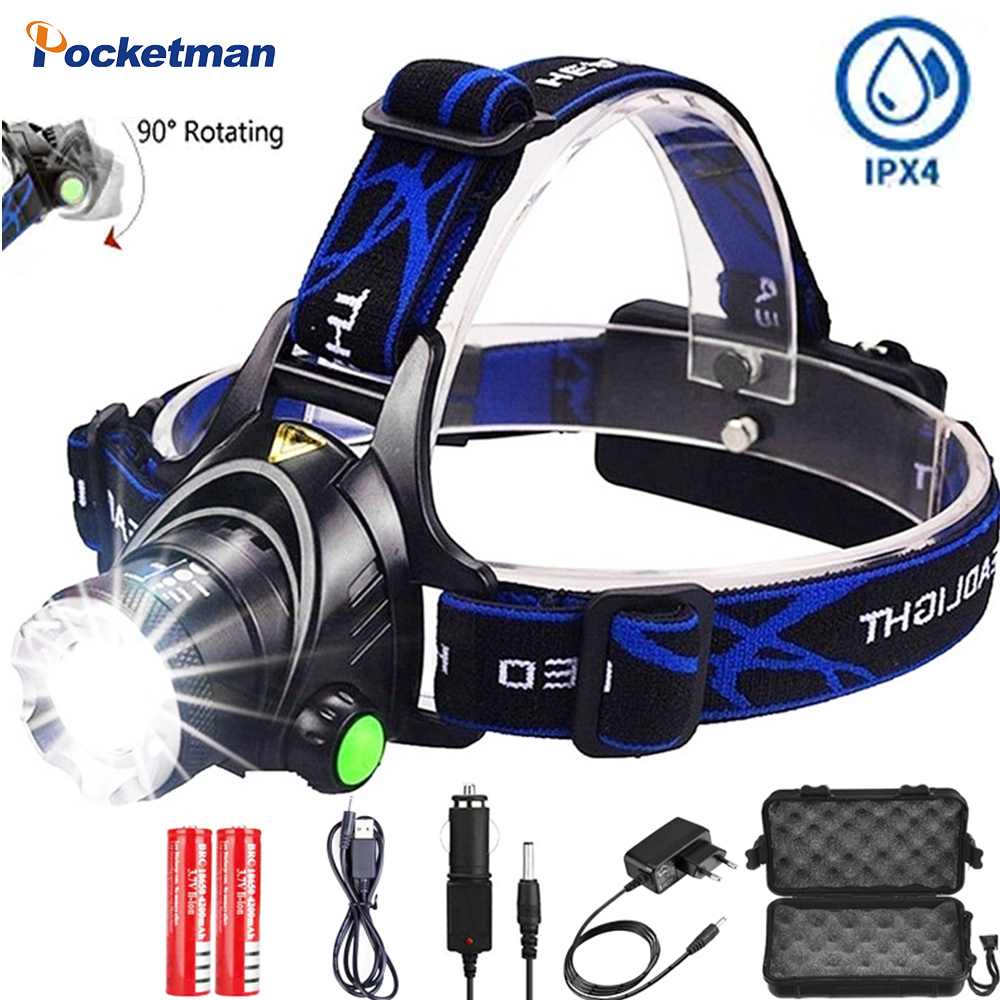 Headlamp Led Headlight Head Lamp L2/T6 3 Modes Zoomable Waterproof Head Torch Flashlight Powered By 2*18650 Battery For Camping